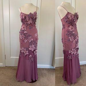 Alberto Makali lavender floral mermaid gown